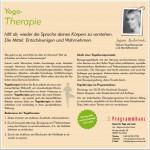 Yoga-Therapie. Flyer Rückseite.